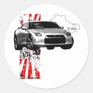7:29 GT-r Pegatina Redonda