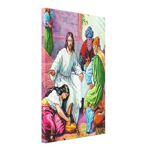 7:36 de Matthew - 50 Jesús perdona los pecados de Impresión En Lienzo