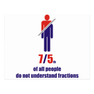 7/5th of all people do not understand fractions postcard