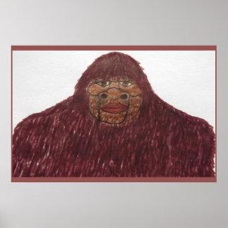 7.6 ft/229 cm tall Sasquatch rb fur Print
