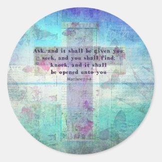 7:7 de Matthew - cristiano inspirado del verso de Pegatina Redonda