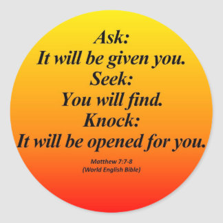 7:7 de Matthew del cumplimiento - 8 Abbrev Pegatina Redonda