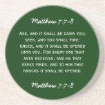 7:7 de Matthew del paso de la biblia - 8 en el tex Posavasos Cerveza