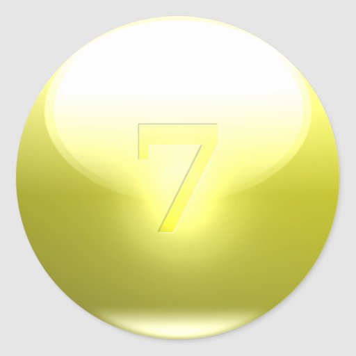 7 afortunados amarillos pegatinas redondas
