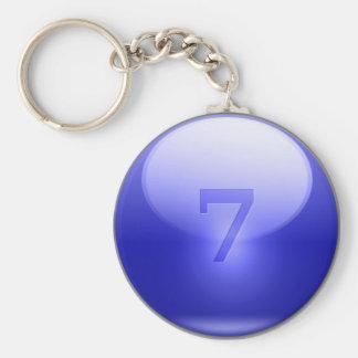 7 afortunados azules llavero redondo tipo pin