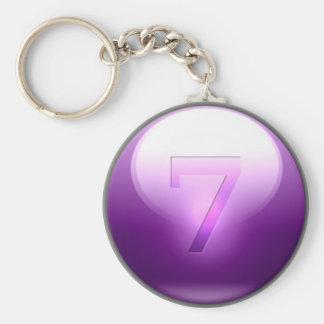7 afortunados púrpuras llavero redondo tipo pin