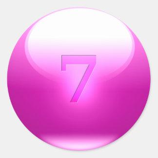 7 afortunados rosados etiqueta redonda