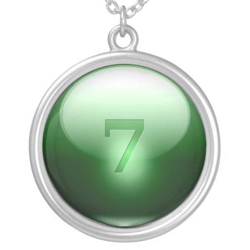 7 afortunados verdes colgante redondo