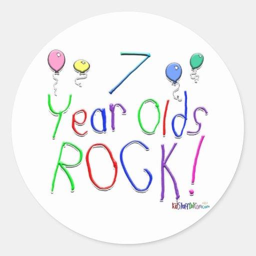 ¡7 años de la roca! etiqueta redonda