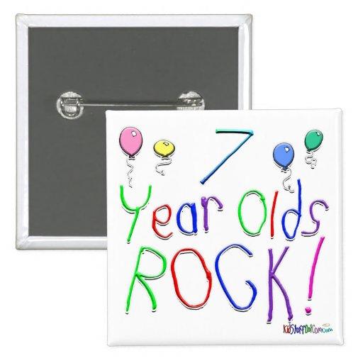 ¡7 años de la roca! pin cuadrada 5 cm