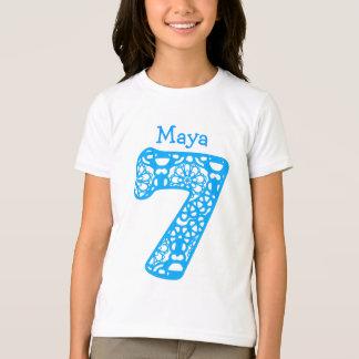 7 Birthday Girl Lace Number Custom Name V02 T-Shirt
