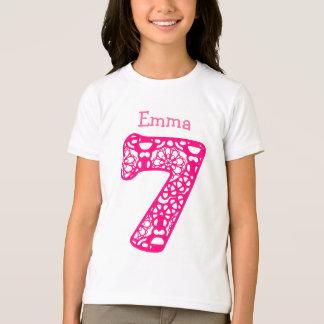 7 Birthday Girl Lace Number Custom Name V07 T-Shirt