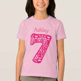 7 Birthday Girl Lace Number Custom Name V08 T-Shirt