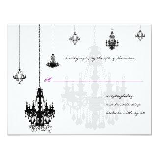"7 Black Chandeliers Wedding RSVP Cards 4.25"" X 5.5"" Invitation Card"