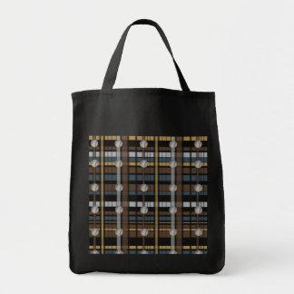 7. Brown Black Gray Plaid Baseball Design Canvas Bag