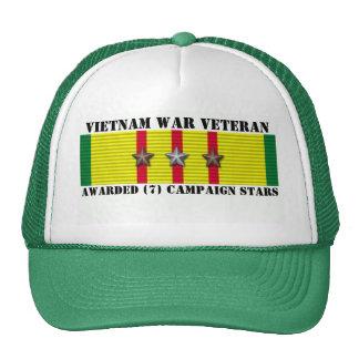 7 CAMPAIGN STARS VIETNAM WAR VETERAN TRUCKER HAT