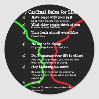 7 Cardinal Rules for LIFE Classic Round Sticker
