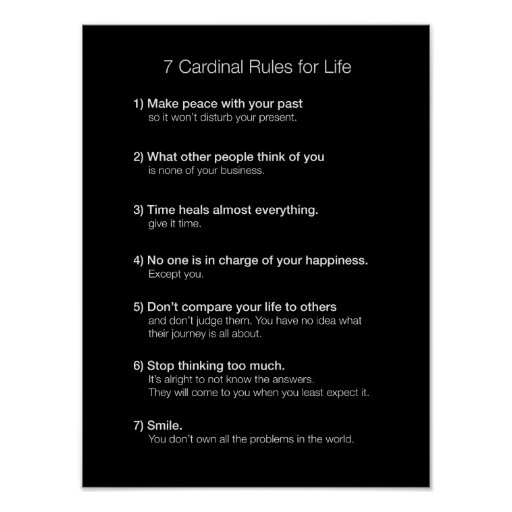 7 Cardinal Rules For Life Poster Zazzle Com