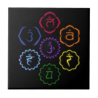 7 Chakras en círculo Azulejos