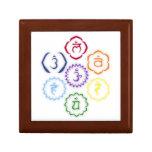 7 Chakras en círculo Joyero Cuadrado Pequeño