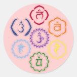 7 Chakras en un círculo Etiquetas Redondas