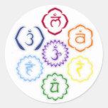 7 Chakras en un círculo Pegatina