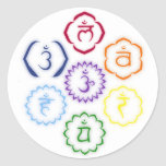 7 Chakras en un círculo Pegatina Redonda