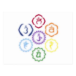 7 Chakras en un círculo Postal