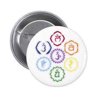7 Chakras in a Circle Pinback Button