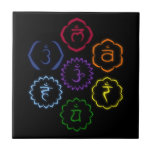 7 Chakras in Circle Small Square Tile