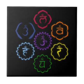 7 Chakras in Circle Tile
