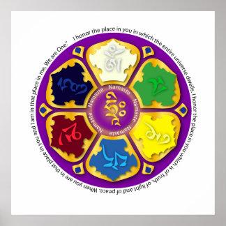 7 chakras Mandala and Om Posters