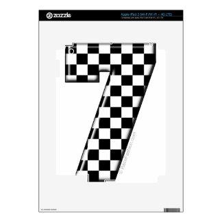 7 checkered auto racing number iPad 3 skin