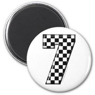 7 checkered auto racing number magnet