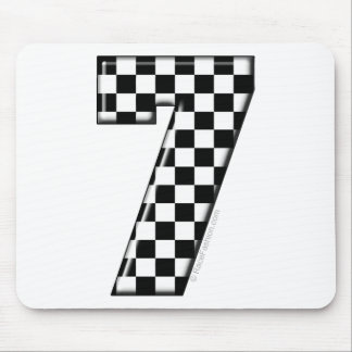 7 checkered auto racing number mouse pad