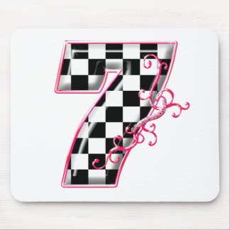 7 checkered flag number pink mouse pad