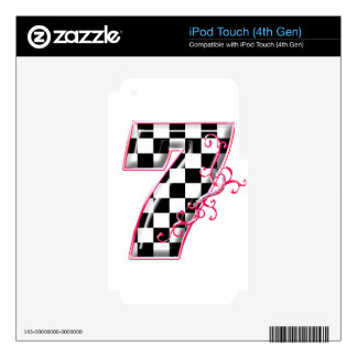7 checkered flag number pink skin for iPod touch 4G