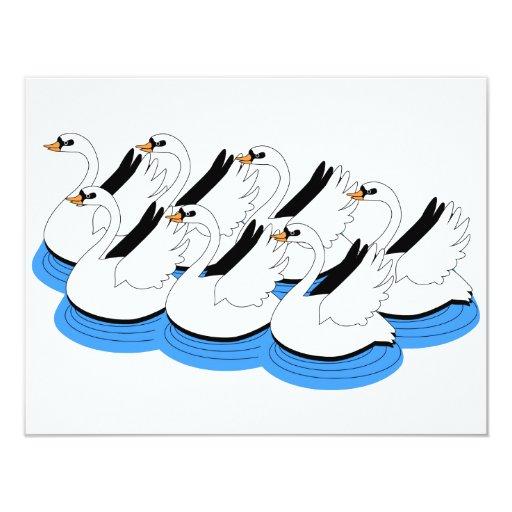 """7 cisnes que nadan invitación 4.25"""" x 5.5"""""""