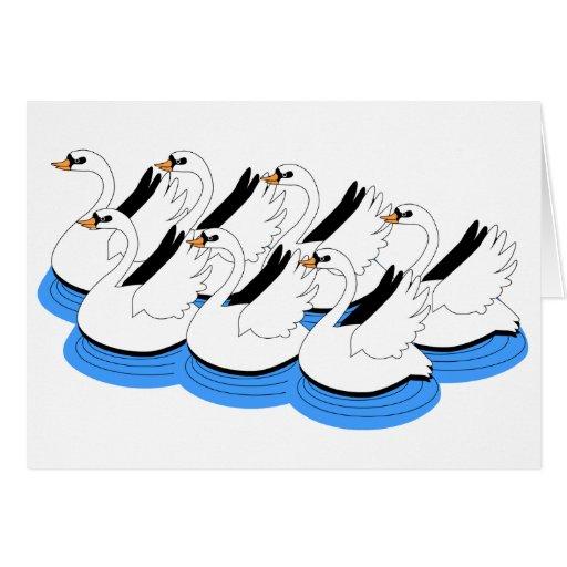 7 cisnes que nadan tarjeta de felicitación