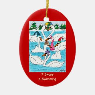 7 cisnes una natación adorno navideño ovalado de cerámica