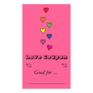 7 color hearts business card
