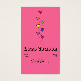 7 colored heart balloons business card