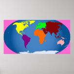 7 continentes imprimen los 3 pies enormes por 1 1/ poster