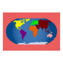 7 Continents Print Colorful  3 ft by 2 ft Canvas