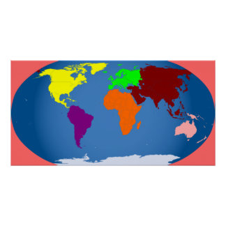 7 Continents Print Colorful Huge 3 ft by 1 1/2 ft