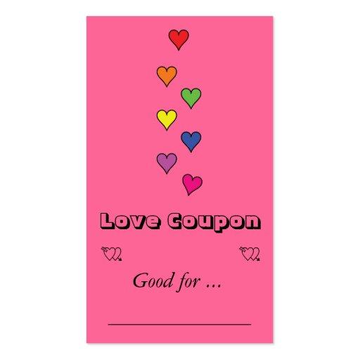 7 corazones del color tarjetas de visita