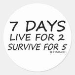 7 Days Round Stickers