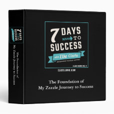 7 Days to Success Beginners Zazzle Course 3 Ring Binder