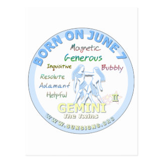 7 de junio cumpleaños - géminis tarjeta postal