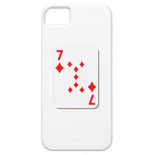 7 del naipe de los diamantes iPhone 5 cárcasa